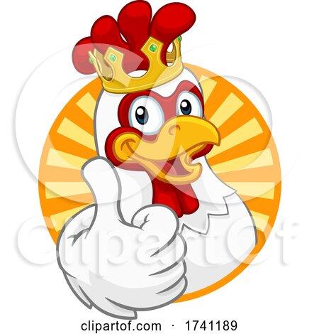 King Chicken Rooster Cockerel Bird Crown Cartoon by AtStockIllustration