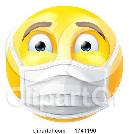Emoticon Emoji PPE Medical Mask Face Icon by AtStockIllustration