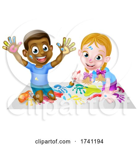 Cartoon Boy and Girl Painting by AtStockIllustration