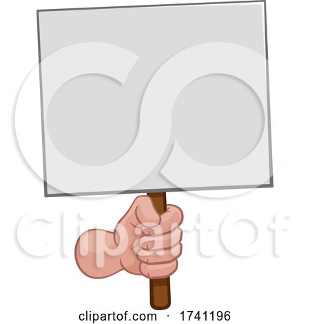 Hand Fist Holding a Blank Sign or Placard Cartoon by AtStockIllustration