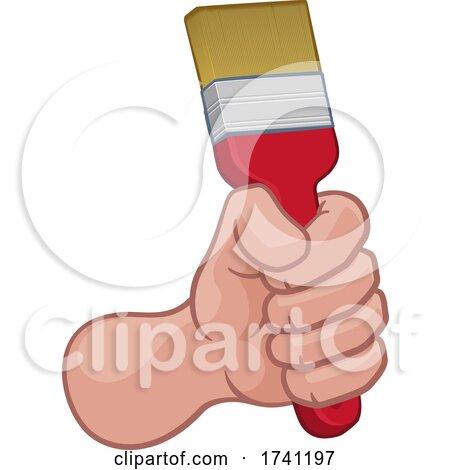 Painter Decorator Hand Fist Holding Paintbrush by AtStockIllustration