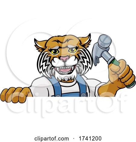 Wildcat Carpenter Handyman Builder Holding Hammer by AtStockIllustration