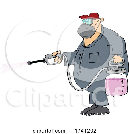 Cartoon Man Spraying Chemicals and Wearing a Mask by djart
