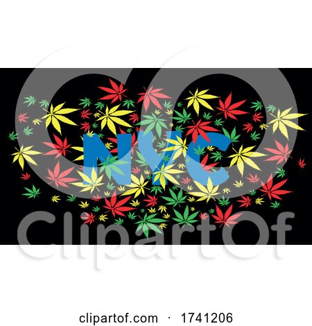 Marijuana Leaves and Nyc on Black by Domenico Condello