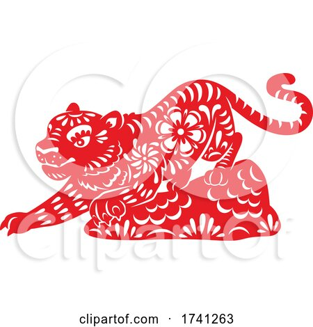Red Chinese Tiger by Vector Tradition SM