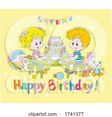 Kids over a Happy Birthday Greeting by Alex Bannykh