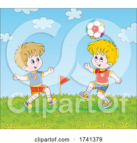 Boys Playing Soccer by Alex Bannykh
