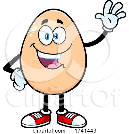 Egg Character Waving by Hit Toon