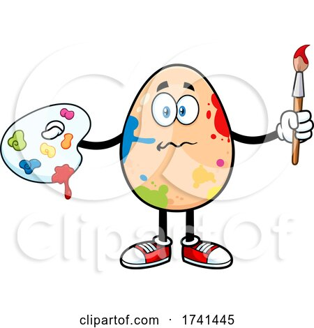 Egg Character in Messy Paint Splatters by Hit Toon