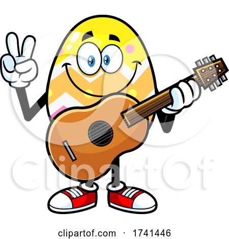 Easter Egg Character Gesturing Peace and Holding a Guitar by Hit Toon