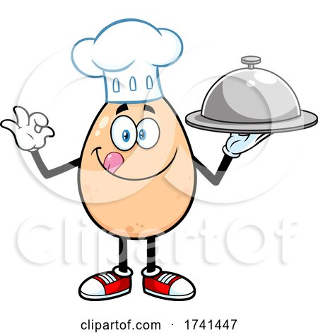 Egg Chef Character Holding a Platter by Hit Toon