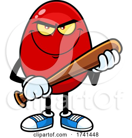Mean Egg Character with a Baseball Bat by Hit Toon
