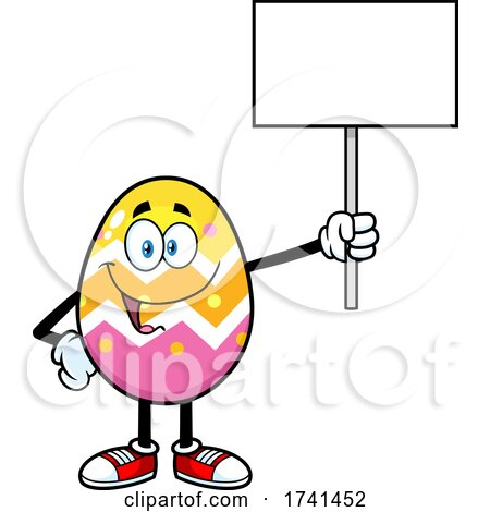 Easter Egg Character Holding a Sign by Hit Toon