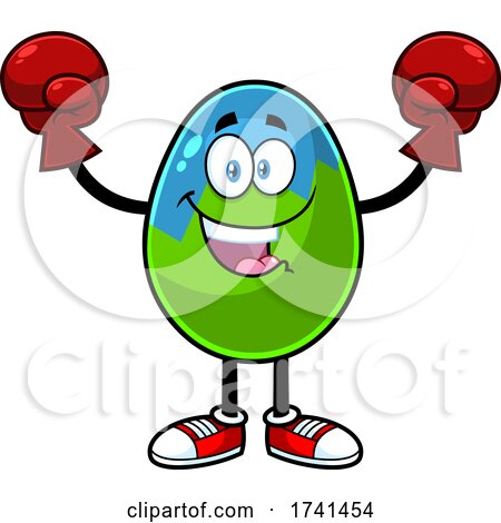 Easter Egg Character Wearing Boxing Gloves by Hit Toon