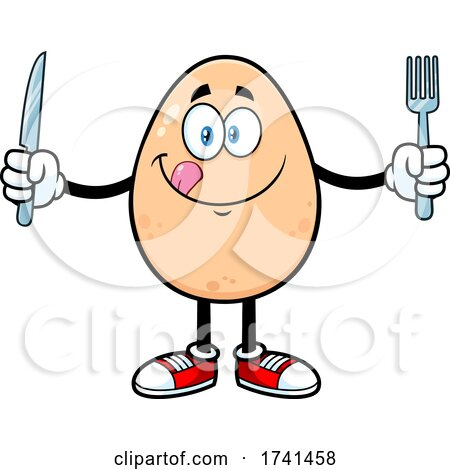 Egg Character with Cutlery by Hit Toon