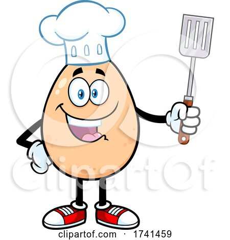 Egg Chef Character Holding a Spatula by Hit Toon