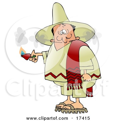 Man Smoking Out Of The Ears After Eating An Extremely Hot Red Pepper While Touring Mexico Clipart Illustration by djart