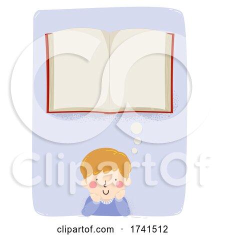Kid Boy Think Open Book Illustration by BNP Design Studio