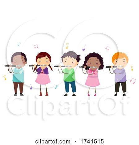 Stickman Kids Piccolo Music Class Illustration by BNP Design Studio