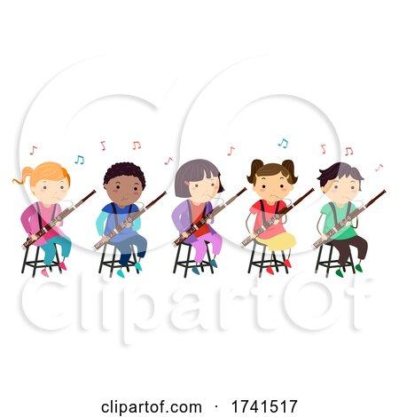 Stickman Kids Bassoon Music Class Illustration by BNP Design Studio