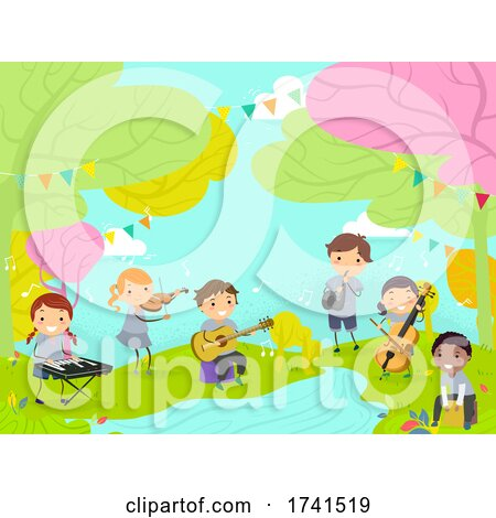 Stickman Kids Perform Nature River Illustration by BNP Design Studio