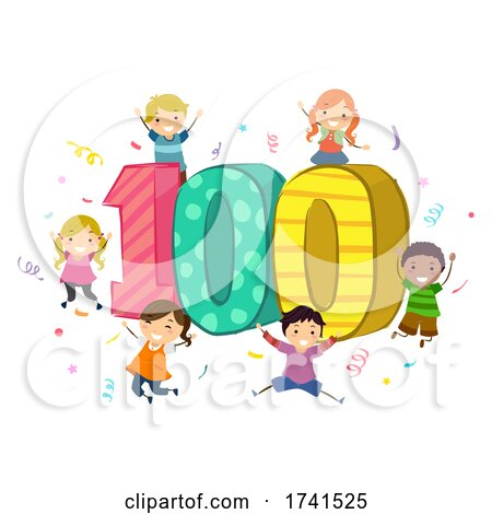 Stickman Kids 100 Celebration Illustration by BNP Design Studio