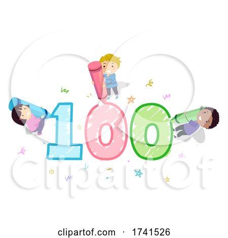 Stickman Kids 100 Day School Crayons Illustration by BNP Design Studio