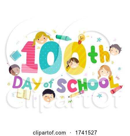 100th Day of School Stickman Kids by BNP Design Studio