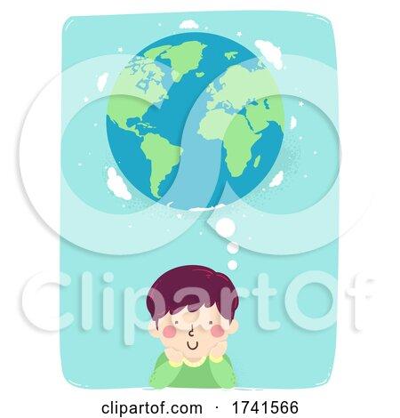 Kid Boy Think Earth World Illustration by BNP Design Studio