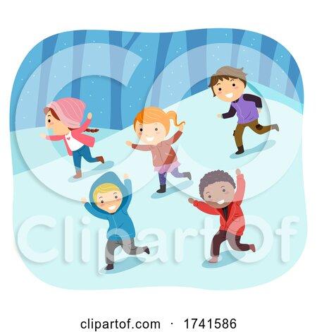 Stickman Kids Snow Run Fun Illustration by BNP Design Studio