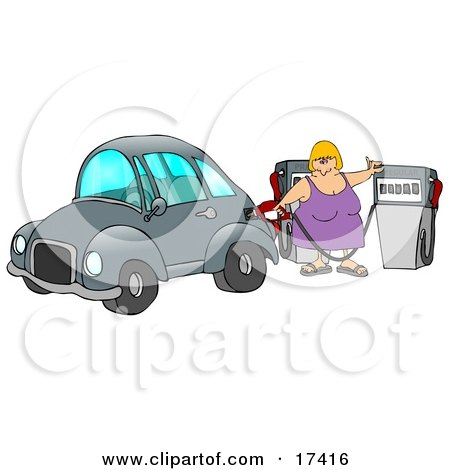 Blond Caucasian Woman Inserting A Gasoline Pump Into Her Vehicle To Fill It At A Gas Station Up Before Commuting To Work Clipart Illustration by djart