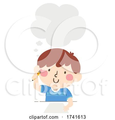 Kid Boy Write Paper Thinking Cloud Illustration by BNP Design Studio