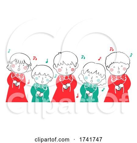 Doodle Kids Choir Christmas Carol Illustration by BNP Design Studio
