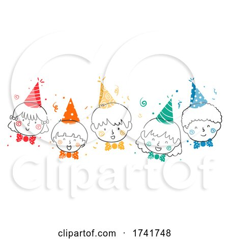 Doodle Kids Happy Party Hats Bow Tie Illustration by BNP Design Studio