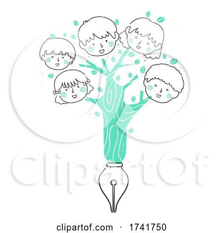 Doodle Kids Tree Fountain Pen Write Illustration by BNP Design Studio
