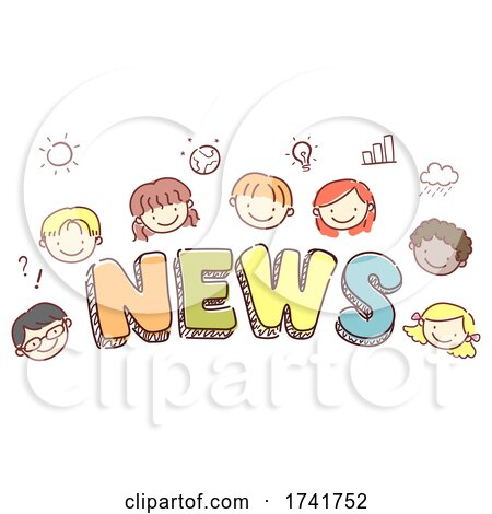 Stickman Kids News Lettering Illustration by BNP Design Studio