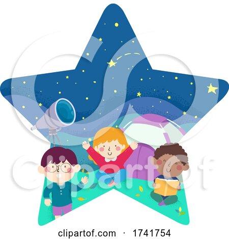 Kids Star Night Camp Tent Stargazing Illustration by BNP Design Studio