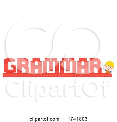 Kid Boy Construction Bricks Grammar Illustration by BNP Design Studio