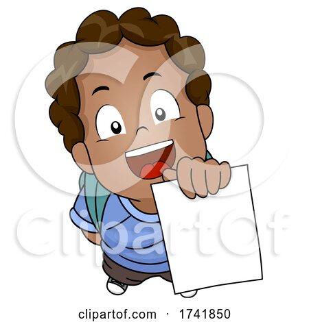 Kid Boy African Showing Test Paper Illustration by BNP Design Studio