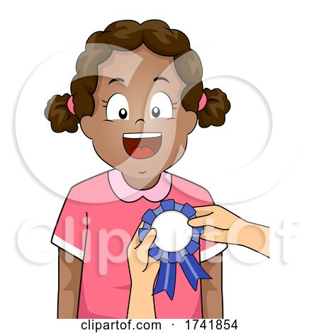 Kid Girl Black Receive Award Ribbon Illustration by BNP Design Studio