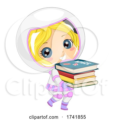 Kid Girl Astronaut Carry Space Books Illustration by BNP Design Studio