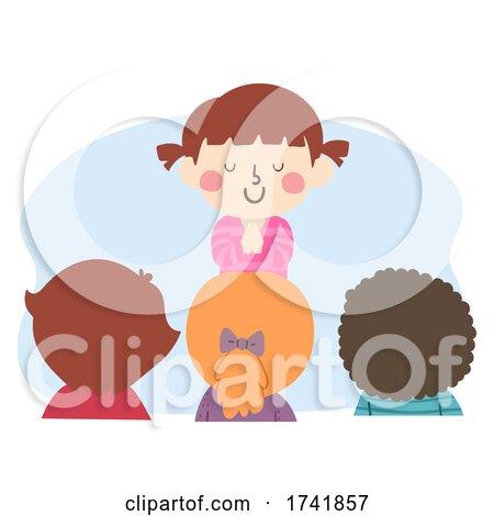 Kid Girl Class Prayer Leader Illustration by BNP Design Studio