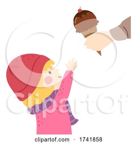 Kid Girl Get Ice Cream Cone Illustration by BNP Design Studio