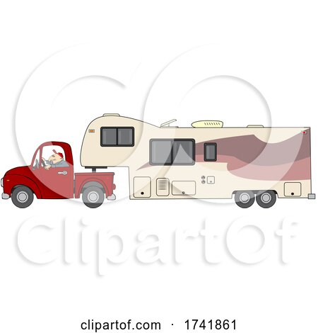man driving a pickup truck and hauling a camper fifth wheel trailer by djart