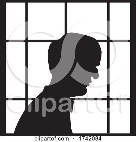 Silhouetted Lonely Senior Man in a Window by Johnny Sajem