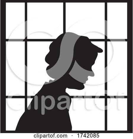 Silhouetted Lonely Senior Woman in a Window by Johnny Sajem
