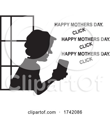 Silhouetted Lonely Senior Woman in a Window Seeing Mothers Day Greetings on Social Media by Johnny Sajem