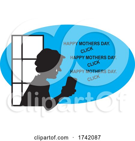 Silhouetted Crying Senior Woman in a Window Seeing Mothers Day Greetings on Social Media by Johnny Sajem