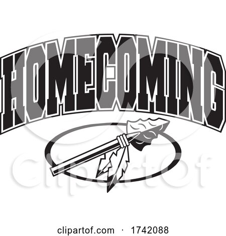 Black and White Arrowhead with HOMECOMING Text by Johnny Sajem