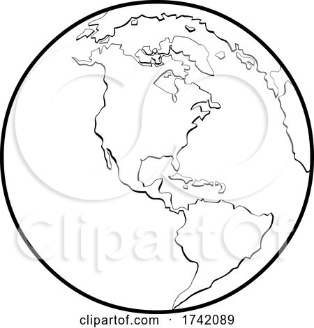 Black and White Earth Globe Featuring the Americas Posters, Art Prints
